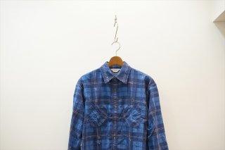 UNUSED(アンユーズド)Damage Check Nel Shirt/Blue