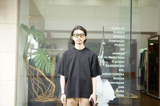 AURALEE(オーラリー)Wool Polyester High Gauze Rib Knit Tee/Black