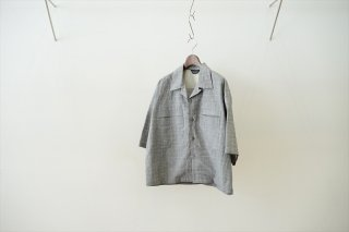 UNUSED(アンユーズド)Glen Check Open Collar Shirts/White:Gray