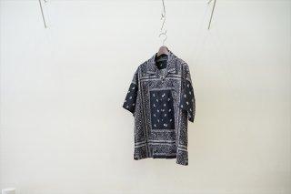 UNUSED(アンユーズド)Bandana Open Collar Shirts/Black