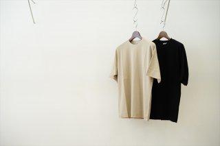 AURALEE(オーラリー)Hard Twist Amunzen Double Cloth Tee/Beige/Black