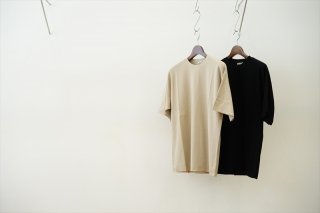 AURALEE(オーラリー)Hard Twist Amunzen Double Cloth Tee/Beige/Black