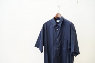 Graphpaper(グラフペーパー)Broad S/S Oversized Regular Collar Shirt/Navy