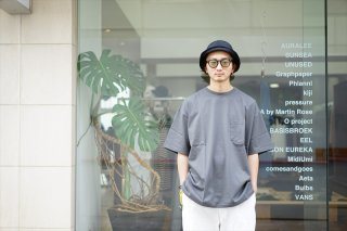 Graphpaper(グラフペーパー)Jersey Oversized SS Pocket Tee/Gray
