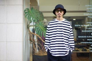 Graphpaper(グラフペーパー)Border L/S Pocket Tee/White×Black