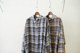Graphpaper(グラフペーパー)Tencel Check Regular Collar Big Sleeve Shirt/GRY×BLK/GRY×ORG
