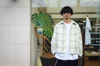 AURALEE(オーラリー)SURI ALPACA SHAGGY CHECK BLOUSON/LIME YELLOW CHECK