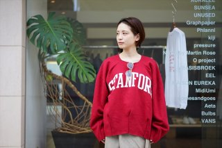 MAISON EUREKA(メゾンエウレカ)Vintage Rework Sweat 2Tuck/STANFORD Logo/Bordeaux/