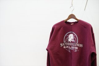 MAISON EUREKA(メゾンエウレカ)Vintage Rework Sweat 2Tuck/Southern Illinois SALUKIS Logo/Bordeaux/