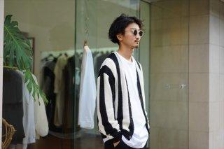 UNUSED(アンユーズド)Stripe Cardigan/White×Black
