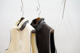 Graphpaper(グラフペーパー)Wool Boa Zip Up Vest/White/Gray/