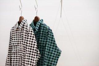 UNUSED(アンユーズド)Hound Tooth Corduroy Shirt/white×black/green×black/