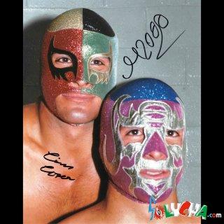 Cien Caras & Mascara año 2000 Autographed Photo / シエン・カラス&マスカラ・アニョ・ドスミル サイン入ブロマイド