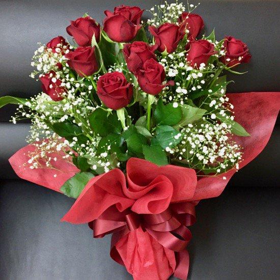 贈呈用花束「赤バラとかすみ草」