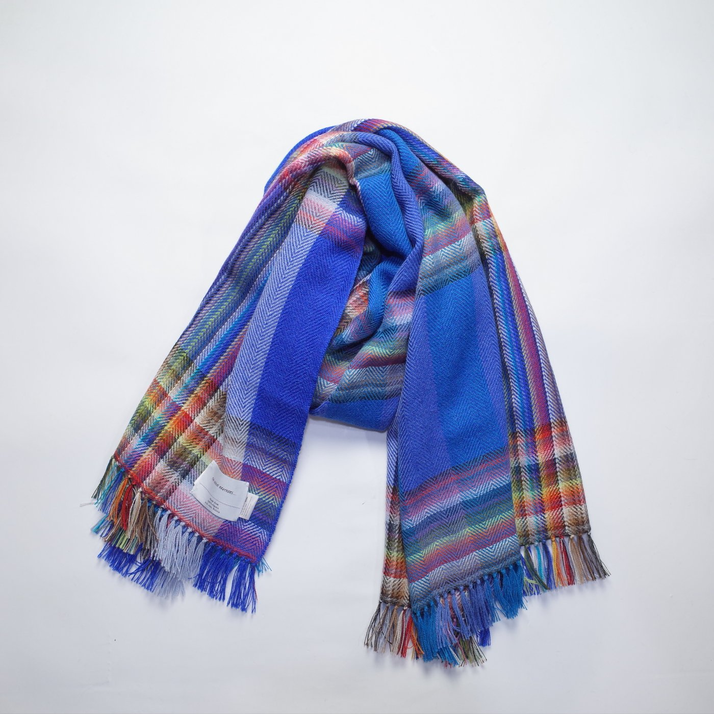 THE INOUE BROTHERS...-Bolivian hand loomed stole/BLUE-unisex