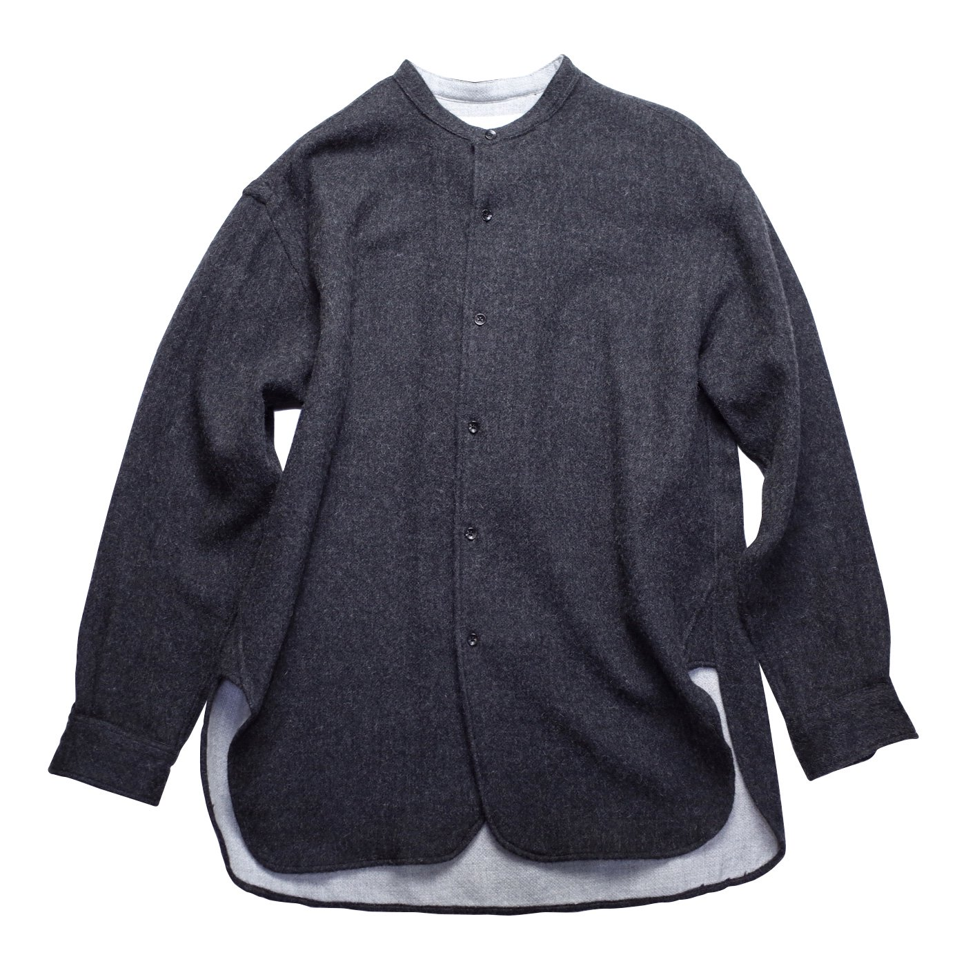 THE INOUE BROTHERS...-Banded Collar Shirt/DARK GREY-men's