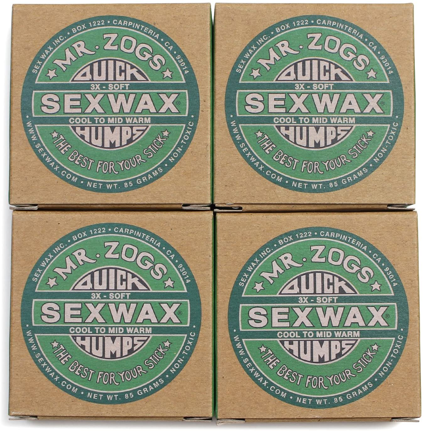 SEX WAX セックスワックス サーフィン ワックス Quick Humps 4個セット(GREEN/COOL to MID WARM)