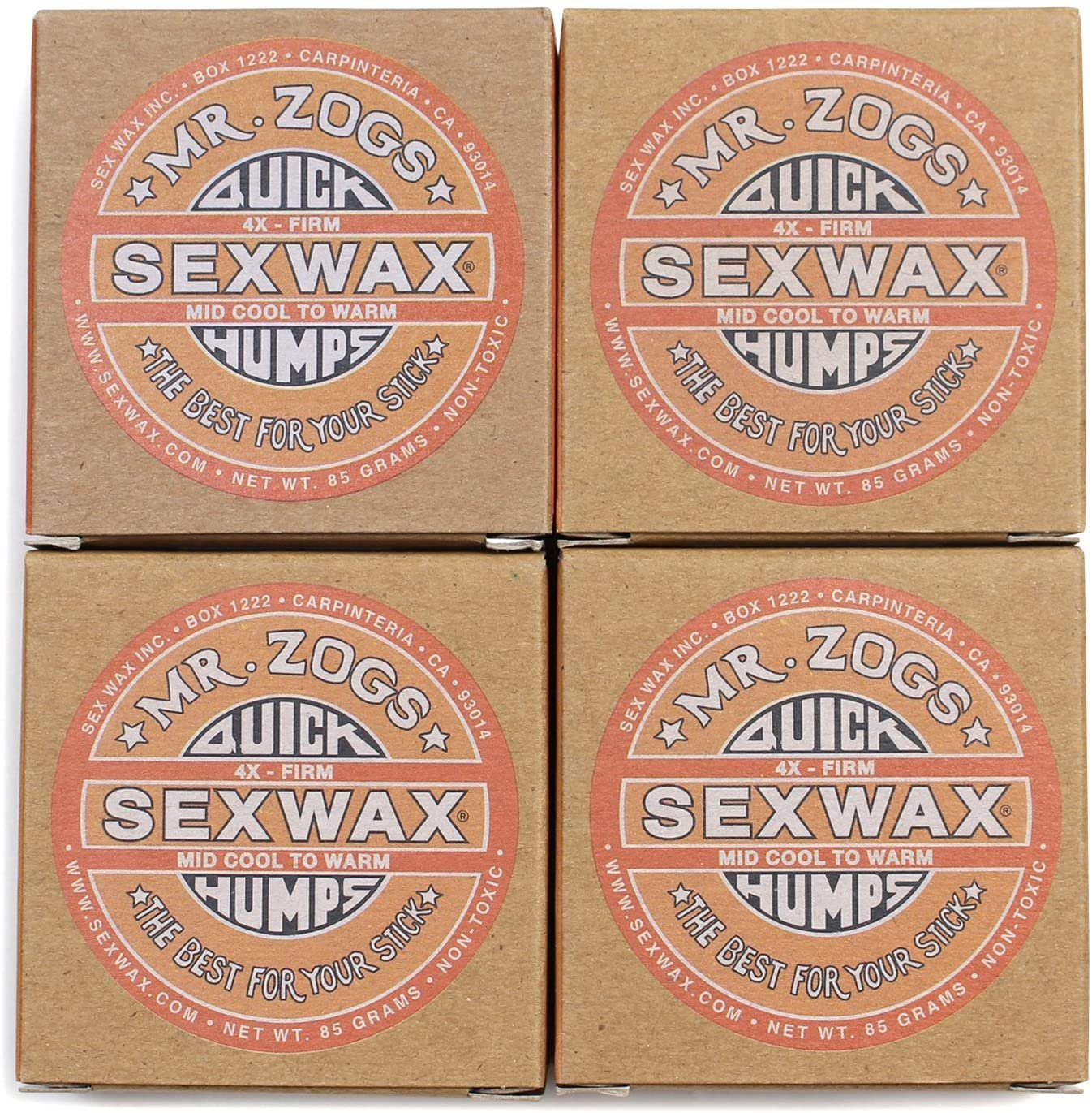 SEX WAX セックスワックス サーフィン ワックス Quick Humps 4個セット(Orange/MID COOL to WARM)