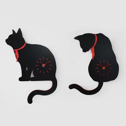 【壁掛け時計】ブラックキャット