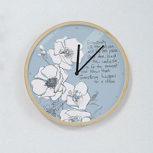 【壁掛け時計】レターフラワー(ブルー)