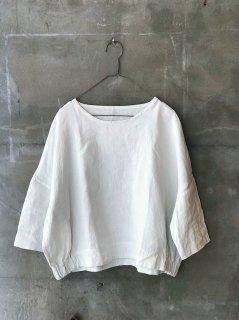 YAMMA リネンサイドギャザーシャツ スノーホワイト