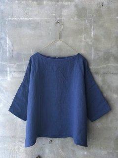 YAMMA リネンニュースクエアシャツ ブルー