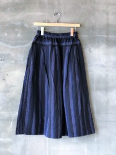 YAMMA 会津木綿タックスカート 黒かつお縞