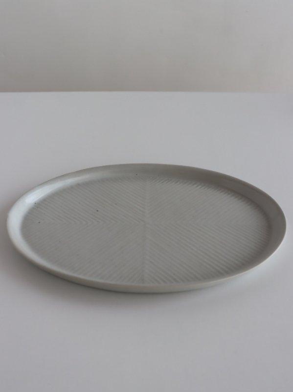 阿南維也 白磁鎬オーバル皿(大)