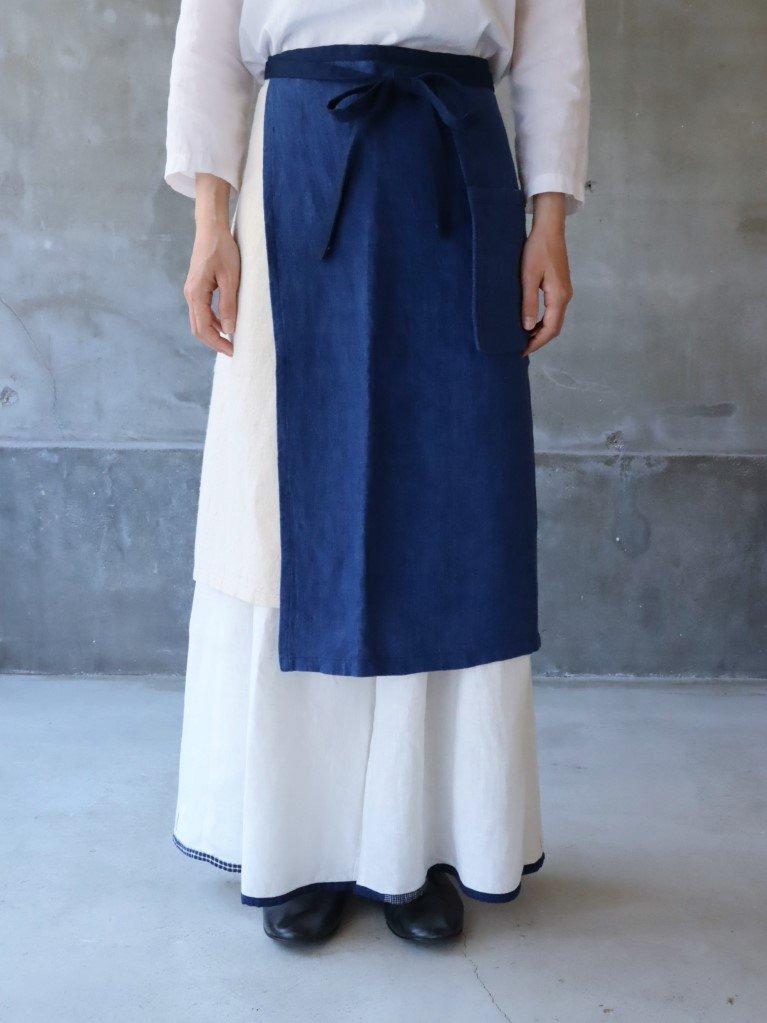 omoto 前掛けロング(2枚フラシ)紺×生成青ライン E