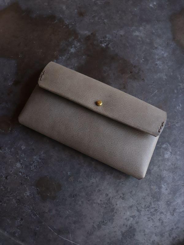 safuji ミニ長財布(ホック)裏地付 グレイカーキ