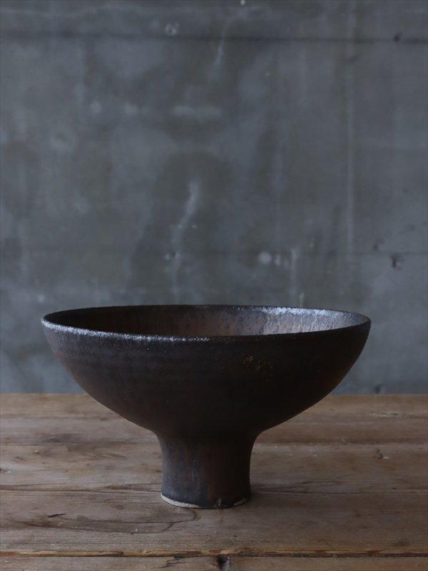 錆枝 高坏碗 窯変 ブロンズ釉