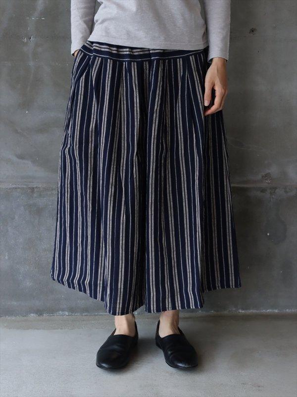 YAMMA 会津木綿タックスカート 古代縞