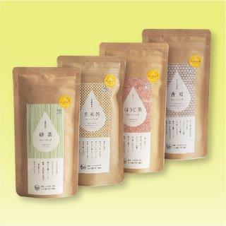紐付きティーバッグ4種セット (緑茶  玄米茶  ほうじ茶   ほうじ玄米茶香双)