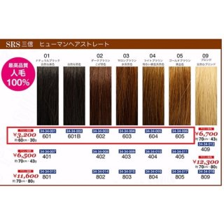 KM-493-10☆新品<BR>SRS 三信<BR>ヒューマンヘアストレート<BR>約60cm・30g(HB)