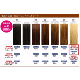 KM-495-10☆新品<BR>SRS 三信<BR>ヒューマンヘアストレート<BR>約70cm・43g(HB)