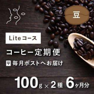 <b>コーヒー定期便 【Liteコース】 毎月100g×2種類  6か月分(豆のまま)*特典として豆乃木オリジナルキャニスター付</td></b>