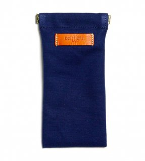 DIFFUSER (ディフューザー)  眼鏡(メガネ)ケース COTTON CANVAS SOFT EYEWEAR CASE SG1025B Navy & Orange Leather