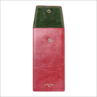 DIFFUSER (ディフューザー)  眼鏡(メガネ)ケース CRUSH LEATHER SOFT EYEWEAR CASE SG1024F Red & Moss Green
