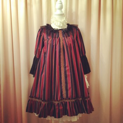 1075-1 Antique Doll Dress(Bordeaux)