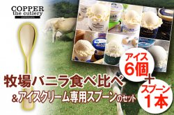 特別なセット(ギフトにも最適) 全国の牧場バニラ食べ比べ+アイスクリーム専用スプーン セット(6個+1本)