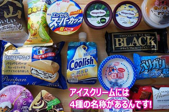 アイスクリームには4種類の名称があります(アイスクリーム、アイスミルク、ラクトアイス、氷菓)