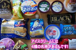 本とアイスのセット(ギフト最適) アイスクリームには4種類の名称があります(アイスクリーム、アイスミルク、ラクトアイス、氷菓)
