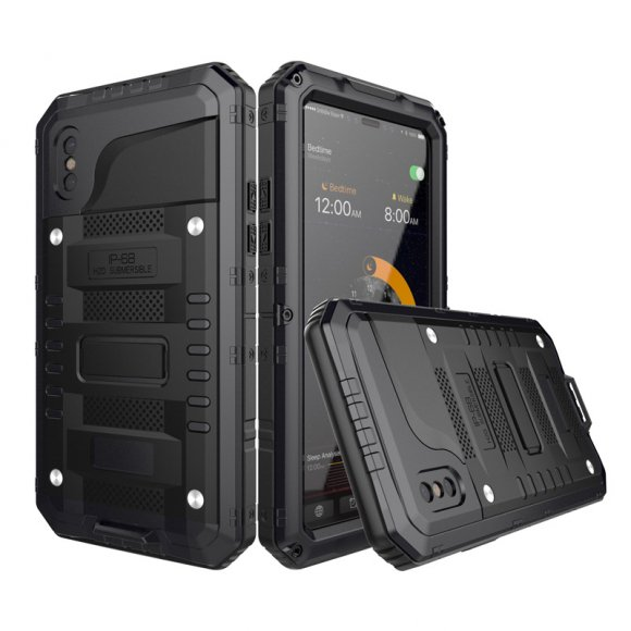 iPhone X タフケース 防水 アルミ  耐衝撃 防塵 軽量 メタル フルカバー ミリタリー 強化ガラス 最強系メタルケース IP68