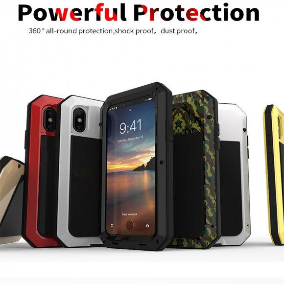 iPhone X 耐衝撃ケース アルミ タフケース ミリタリー 強化ガラス  防塵 3重構造のメタルフルカバー 最強系ケース