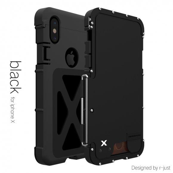 iPhone X タフケース 耐衝撃  メタル アーマー 手帳型 重装甲で軽量 かっこいい男のステンレスアーマー 最強系