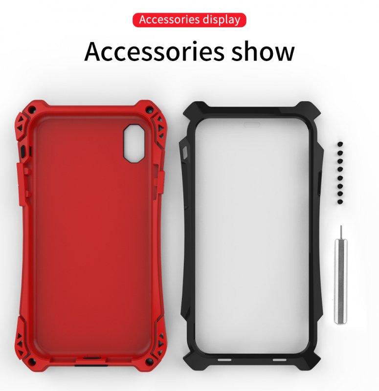 58a4205014 iPhone XR 耐衝撃 ミリタリーケース アウトドア 軽量 メタルフレーム 強化ガラスシールド付き 頑丈でタフケース 最強系アーマーギア