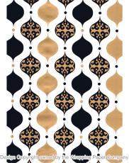 209 Vintage Baubles Black Gold 50cm巾