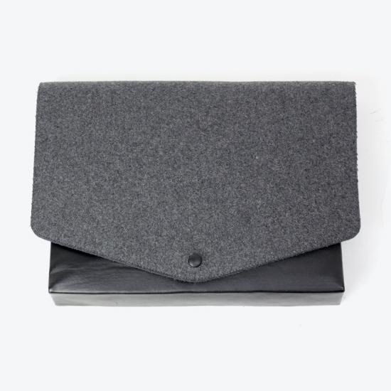MAISON MARTIN MARGIELA LEATHER WOOL CLUTCH BAG