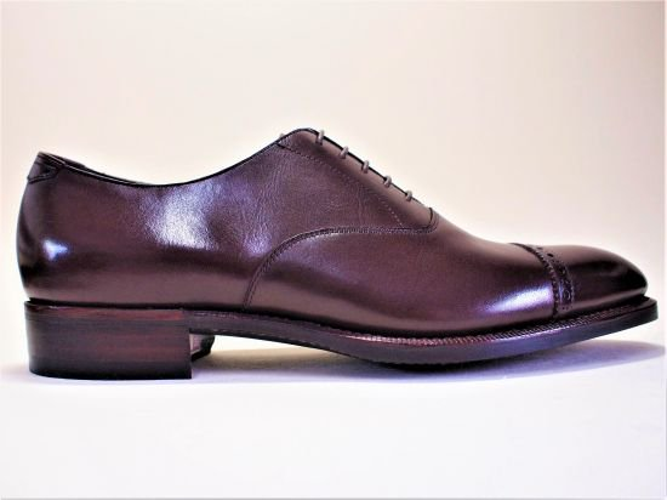 パンチドキャップトゥオックスフォード ラバーソール ブラウン 26.5cm(ハンドソーンウェルテッド製法/在庫あり)