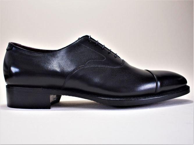 キャップトゥオックスフォード ラバーソール ブラック 24.5cm(ハンドソーンウェルテッド製法/在庫あり)
